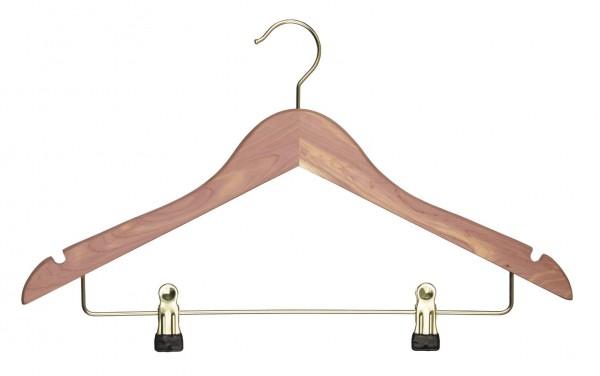 Exklusiver Zedernholz-Kleiderbügel mit Klammernsteg und Rockeinschnitten