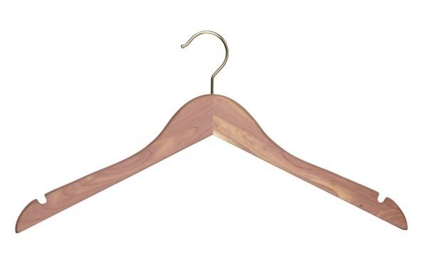 Exklusive Zedernholz-Kleiderbügel mit Rockeinschnitten und besonderer Maserung
