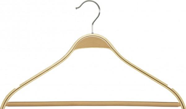 Schichtholz-Kleiderbügel mit rutschfestem Steg und Rockeinschnitten