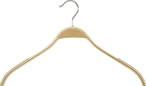 Der Schichtholz-Kleiderbügel ist durch seine Rippeinlagen rutschfest