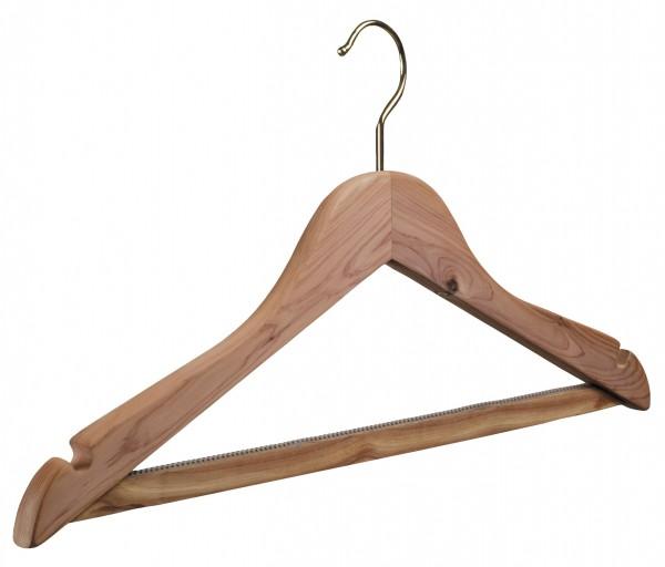 Zedernholz-Kleiderbügel, mit rutschfestem Steg und Rockeinschnitten