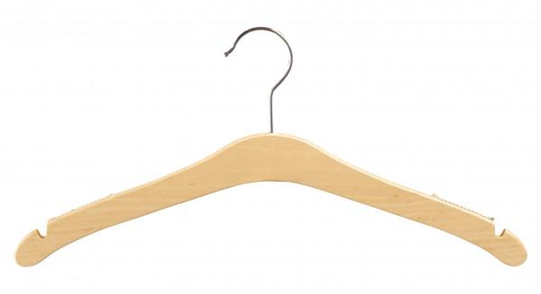 Buchenholz-Kleiderbügel mit Rockeinschnitten und Rippeinlage gegen Abrutschen